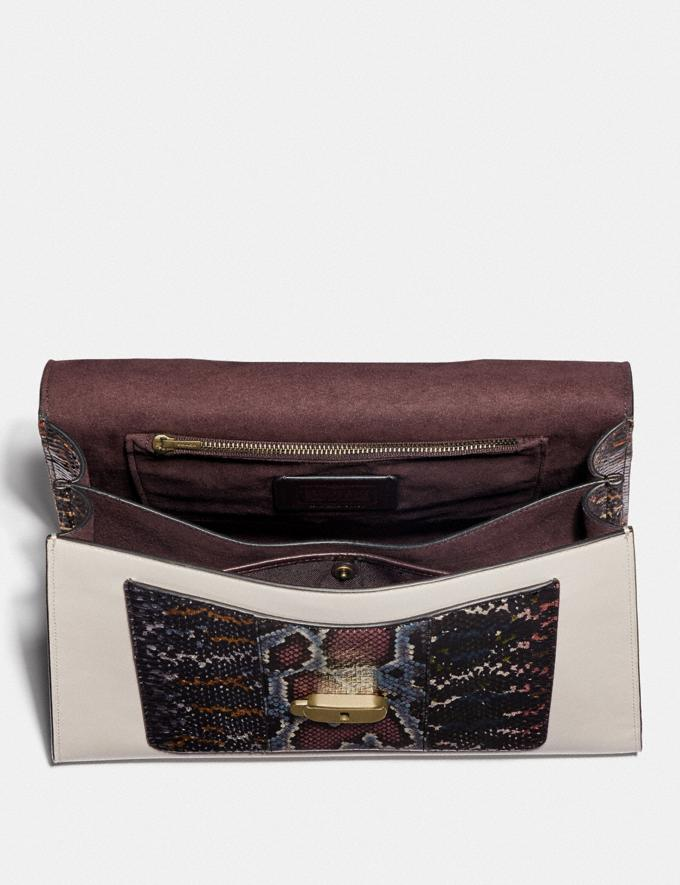 Coach Tabby Top Handle in Colorblock Snakeskin Brass/Black Multi Women Bags Satchels Alternate View 2