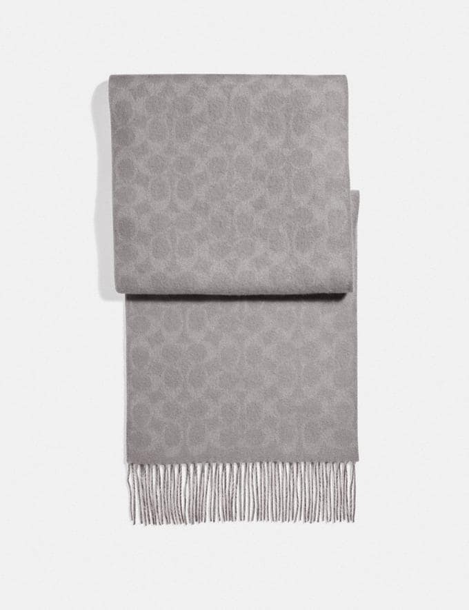 Coach Reversible Signature Cashmere Muffler Heather Grey Women Accessories Hats, Scarves & Gloves