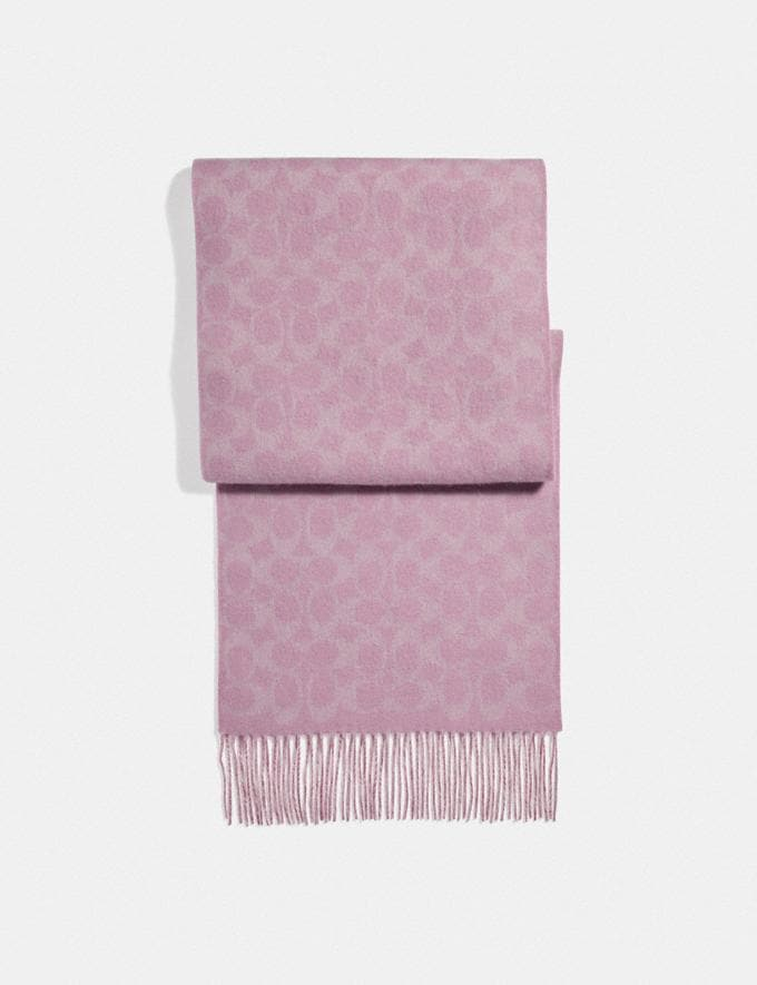 Coach Reversible Signature Cashmere Muffler True Pink Women Accessories Scarves and Gloves