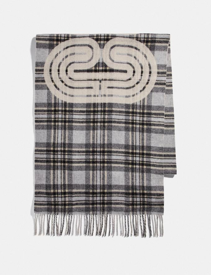 Coach Sporty Plaid Print Oversized Muffler Grey Women Accessories Scarves and Gloves