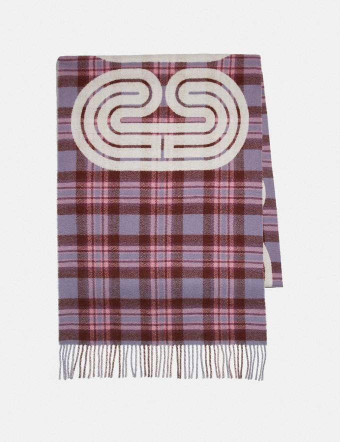 Coach Sporty Plaid Print Oversized Muffler Dusty Lavender Women Accessories Scarves and Gloves