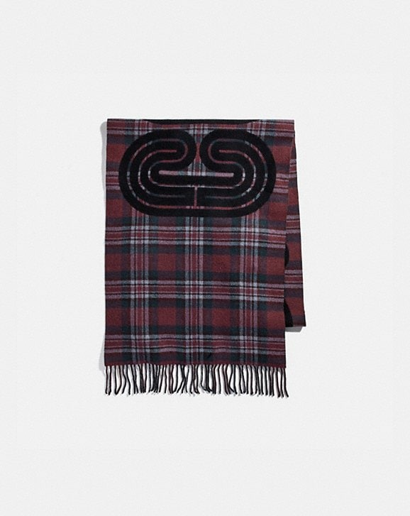 Coach SPORTY PLAID PRINT OVERSIZED MUFFLER