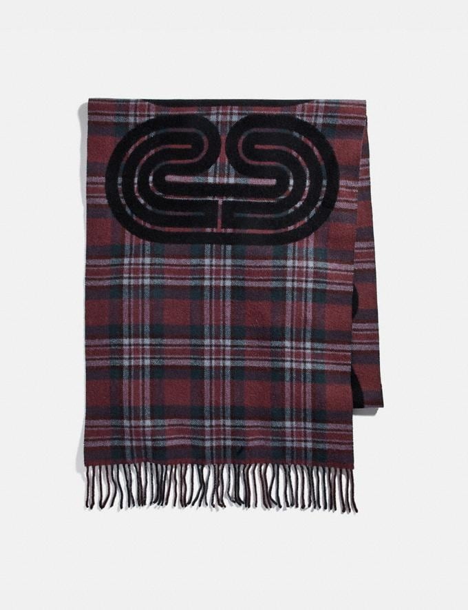 Coach Sporty Plaid Print Oversized Muffler Vintage Mauve Women Accessories Scarves and Gloves