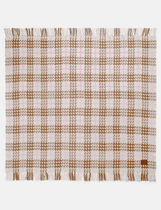 Coach Plaid Print Blanket Scarf Camel Women Accessories Scarves