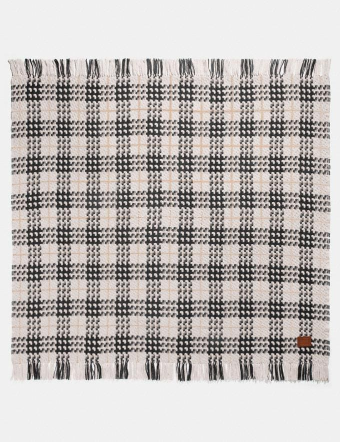 Coach Plaid Print Blanket Scarf Chalk Women Accessories Hats, Scarves & Gloves