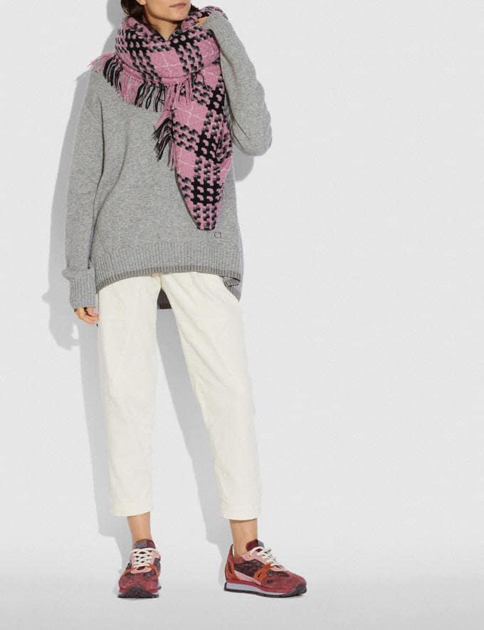 Coach Plaid Print Blanket Scarf Light Raspberry Women Edits Cold Weather Edit Alternate View 1