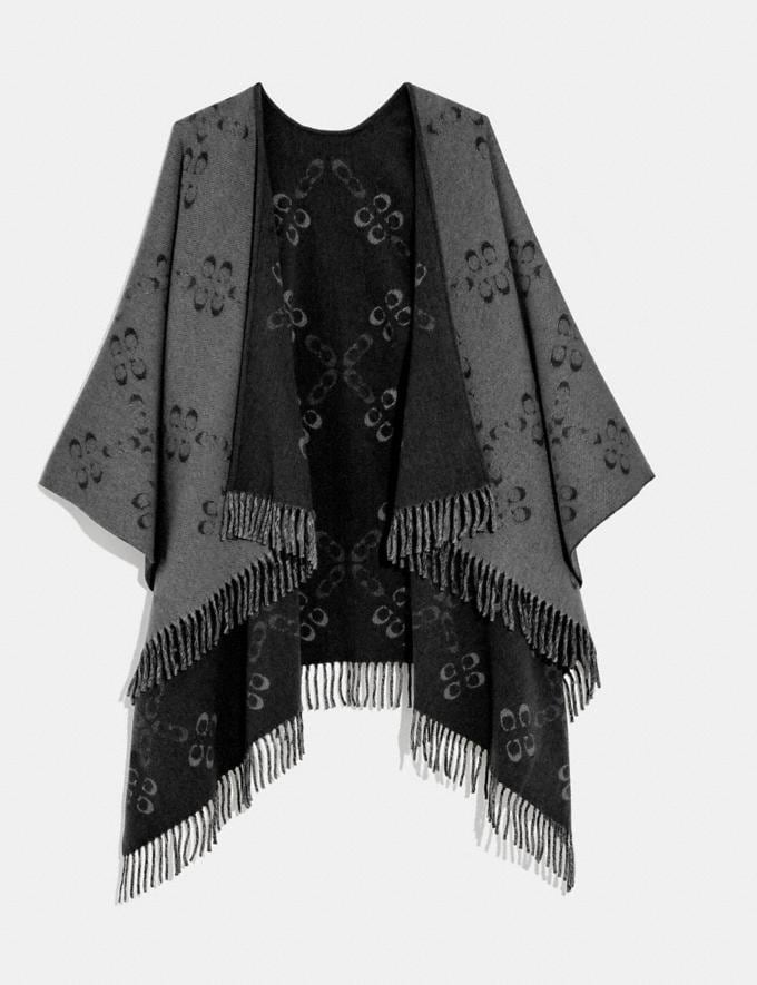Coach Reversible Signature Monogram Poncho Black New Women's New Arrivals Accessories
