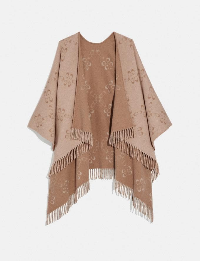 Coach Reversible Signature Monogram Poncho Oatmeal New Women's New Arrivals Accessories