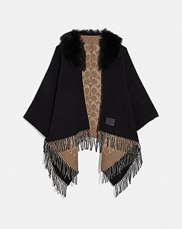 signature poncho with shearling collar