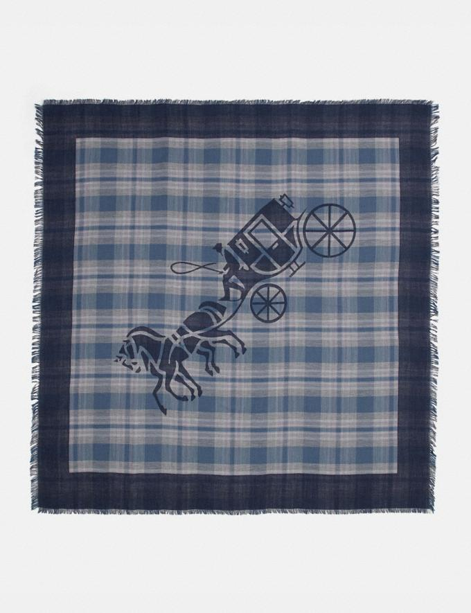 Coach Horse and Carriage Plaid Print Oversized Square Scarf Denim New Women's New Arrivals