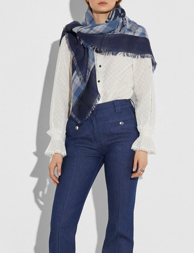 Coach Horse and Carriage Plaid Print Oversized Square Scarf Denim Women Accessories Scarves and Gloves Alternate View 1