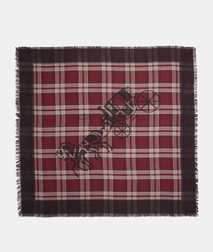 HORSE AND CARRIAGE PLAID PRINT OVERSIZED SQUARE SCARF