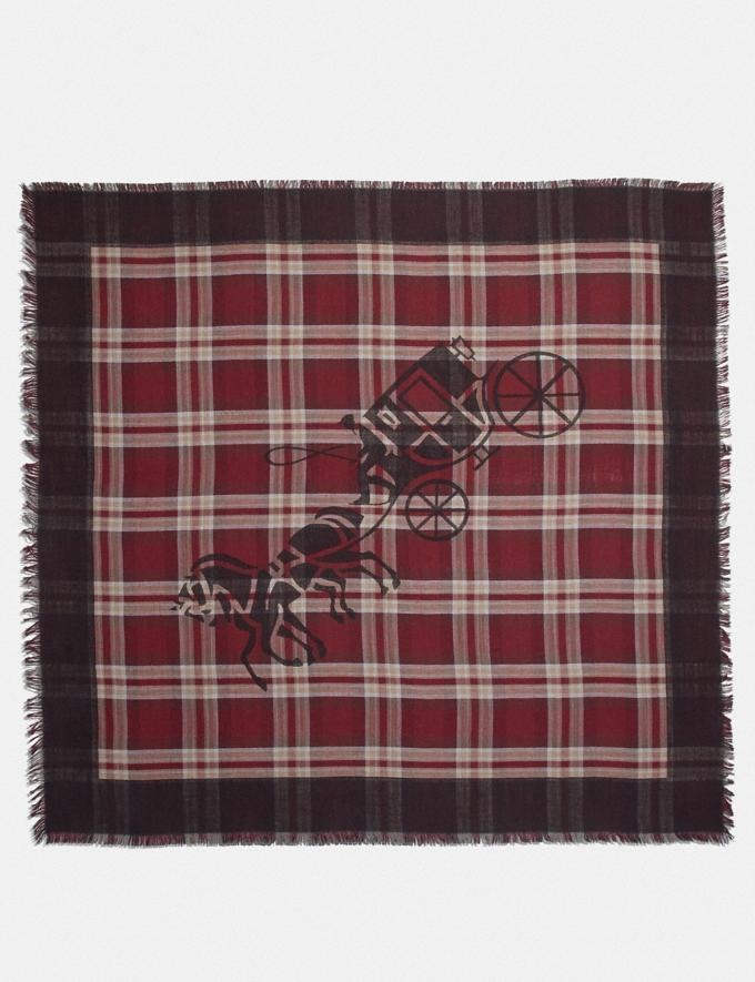 Coach Horse and Carriage Plaid Print Oversized Square Scarf Vintage Mauve Women Accessories Scarves and Gloves