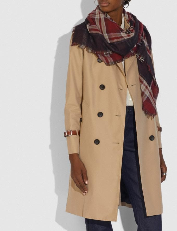 Coach Horse and Carriage Plaid Print Oversized Square Scarf Vintage Mauve Women Accessories Hats Scarves and Gloves Alternate View 1