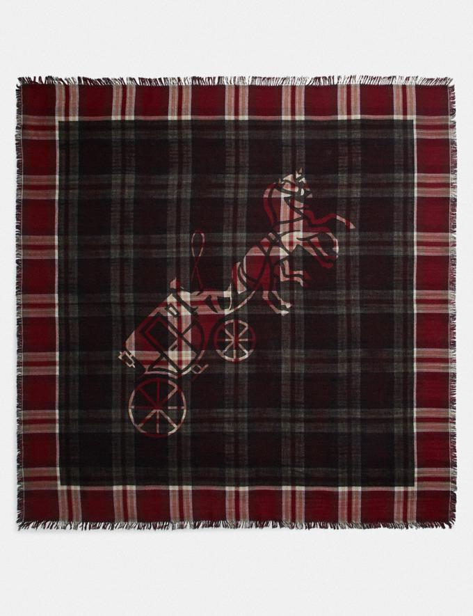 Coach Horse and Carriage Plaid Print Oversized Square Scarf Vintage Mauve Women Accessories Hats Scarves and Gloves Alternate View 2