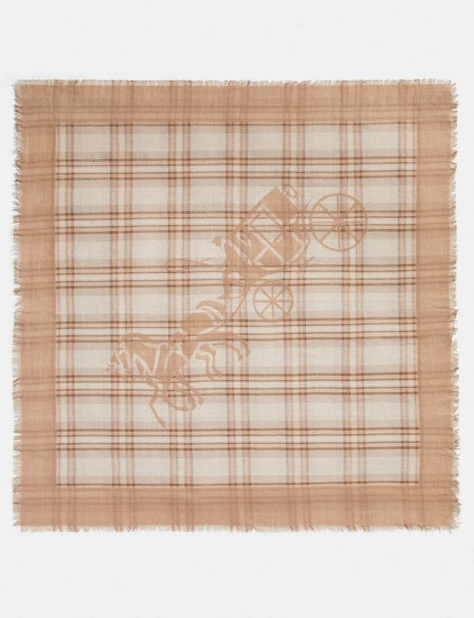 Coach Horse and Carriage Plaid Print Oversized Square Scarf Taupe Women Accessories Hats Scarves and Gloves