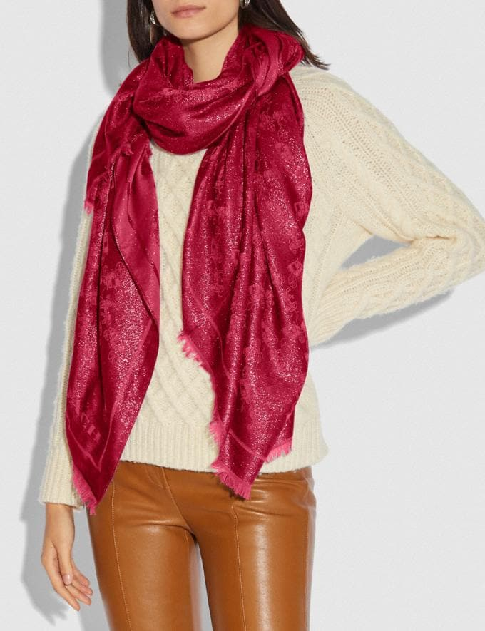 Coach Metallic Horse and Carriage Shawl Red Apple Women Accessories Scarves and Gloves Alternate View 1
