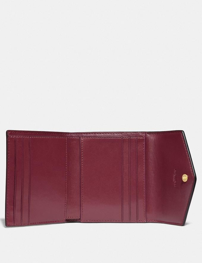 Coach Small Wallet in Colorblock Signature Canvas Brass/Tan Dusty Pink Women Wallets & Wristlets Small Wallets Alternate View 1