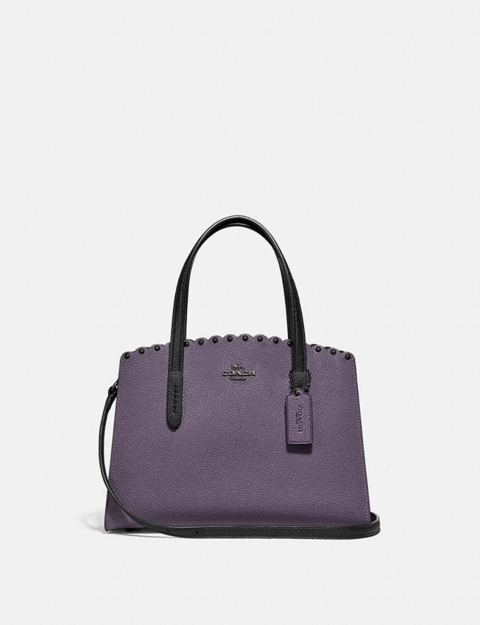 Coach Charlie Carryall 28 With Scallop Rivets Dusty Lavender/Pewter Women Bags Satchels