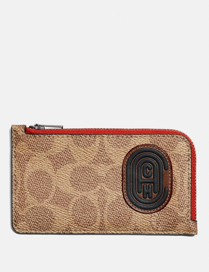 Coach L-Zip Card Case With Signature Canvas Blocking and Coach Patch Tan Signature Multi