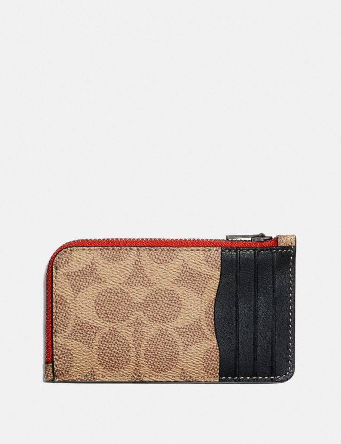 Coach L-Zip Card Case With Signature Canvas Blocking and Coach Patch Tan Signature Multi  Alternate View 1
