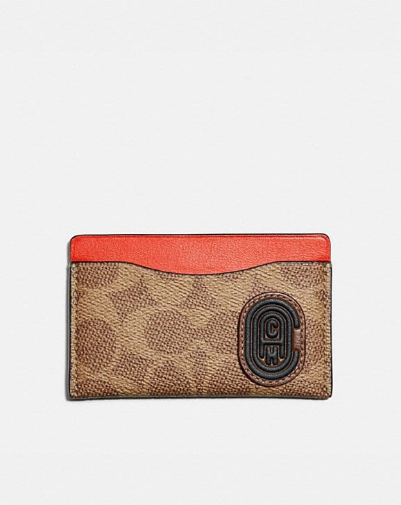 Coach SMALL CARD CASE WITH SIGNATURE CANVAS BLOCKING AND COACH PATCH