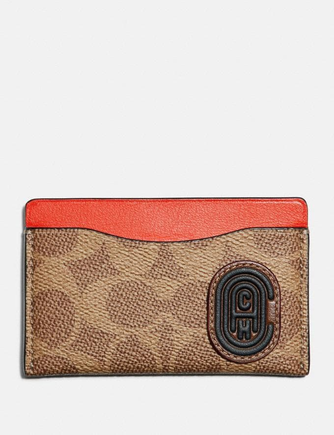 Coach Small Card Case With Signature Canvas Blocking and Coach Patch Tan Signature Multi Cyber Monday Men's Cyber Monday Sale Wallets