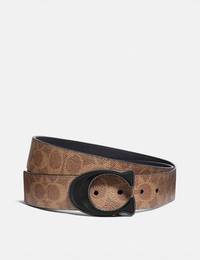Coach Signature Buckle Cut-To-Size Reversible Belt, 38mm Khaki/Black Men Accessories
