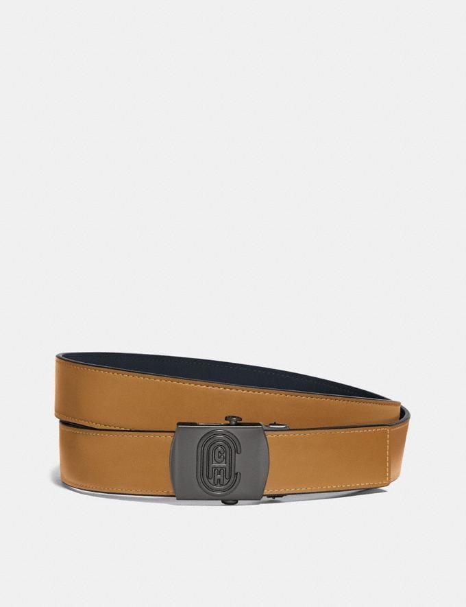 Coach Plaque Buckle Belt, 32mm Dark Honey Men Accessories Belts