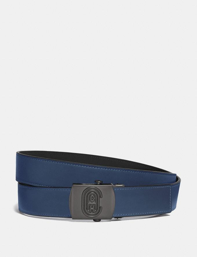 Coach Plaque Buckle Belt, 32mm True Blue Men Accessories Belts