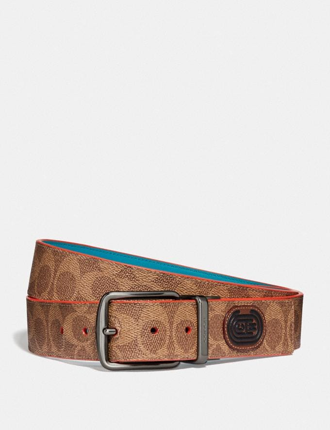 Coach Harness Buckle Cut-To-Size Reversible Belt, 38mm Tan Signature Multi New Men's New Arrivals