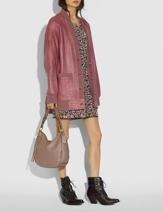Coach Sutton Hobo With Scallop Rivets Stone/Gold Women Handbags Shoulder Bags & Hobos Alternate View 4