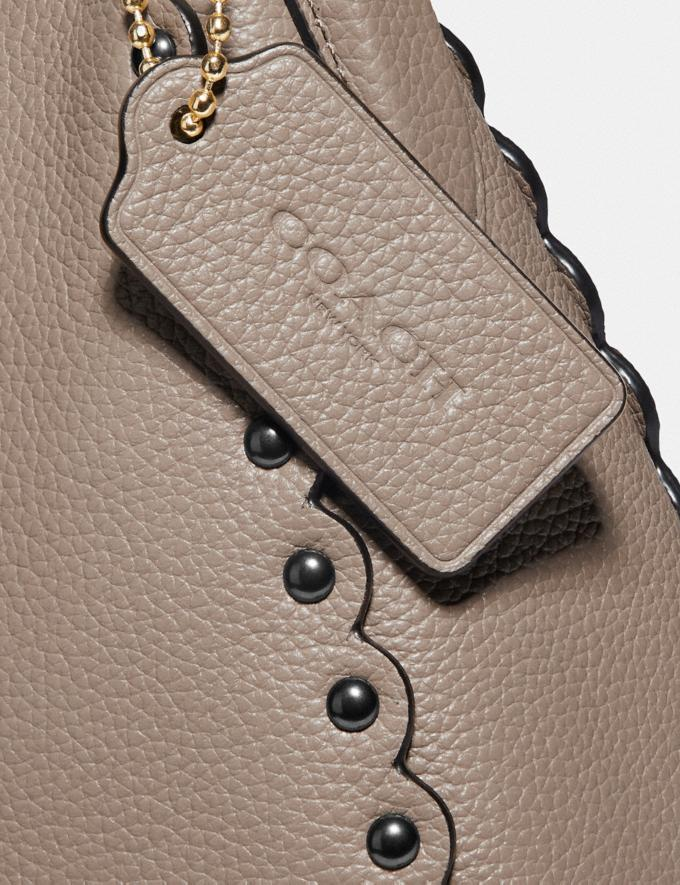 Coach Sutton Hobo With Scallop Rivets Stone/Gold Women Handbags Shoulder Bags & Hobos Alternate View 5