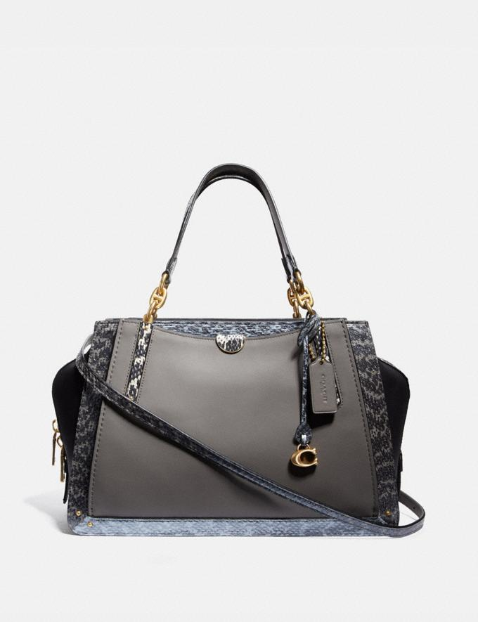 Coach Dreamer 36 in Colorblock With Snakeskin Detail B4/Heather Grey Multi Women Bags Satchels