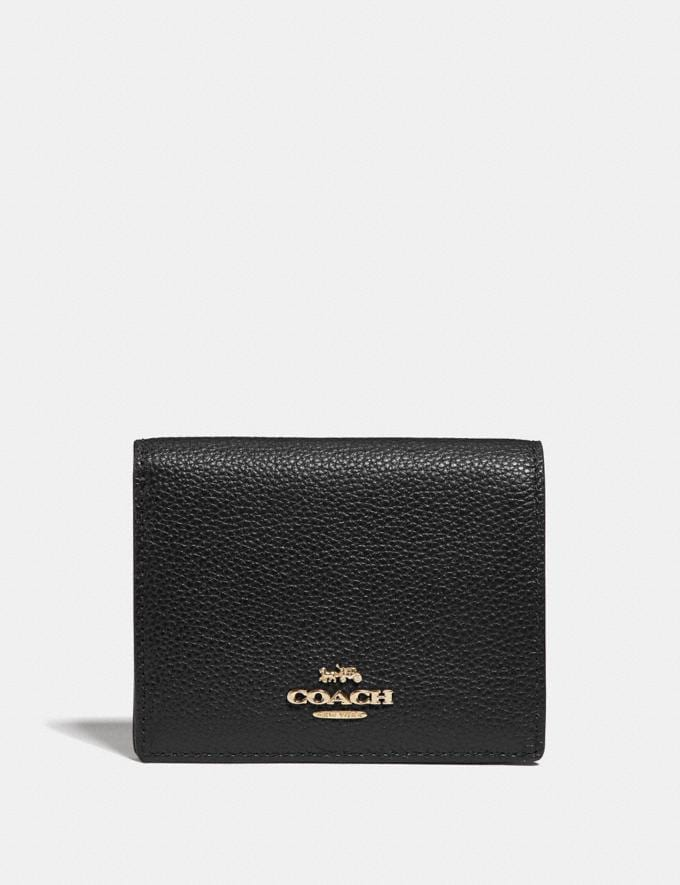 Coach Small Snap Wallet Gold/Black Women Small Leather Goods Small Wallets