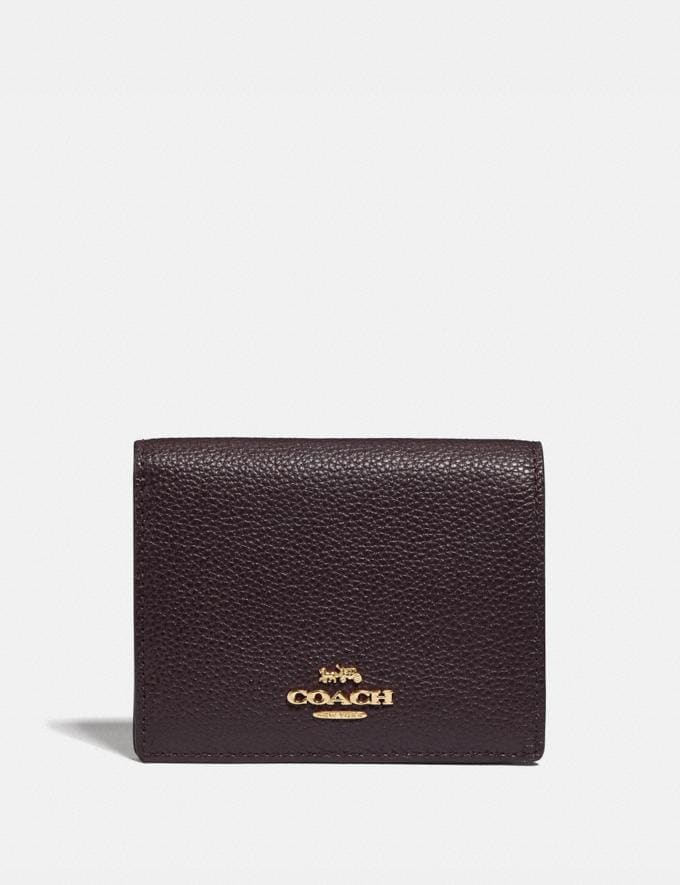 Coach Small Snap Wallet Gd/Oxblood Women Small Leather Goods Small Wallets