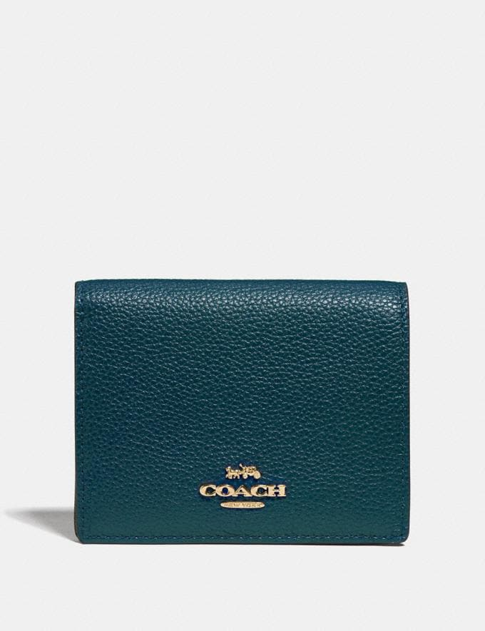 Coach Small Snap Wallet Peacock/Gold Women Small Leather Goods Small Wallets
