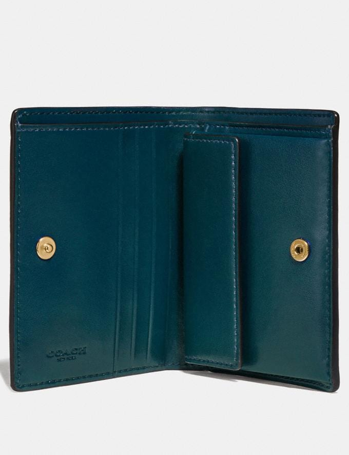 Coach Small Snap Wallet Peacock/Gold Women Small Leather Goods Small Wallets Alternate View 2