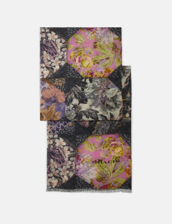 Coach Silk Oblong Scarf With Kaffe Fassett Print Purple/Pink Women Accessories Hats Scarves and Gloves