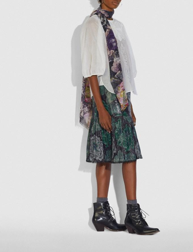 Coach Silk Oblong Scarf With Kaffe Fassett Print Purple/Pink Women Accessories Hats Scarves and Gloves Alternate View 1