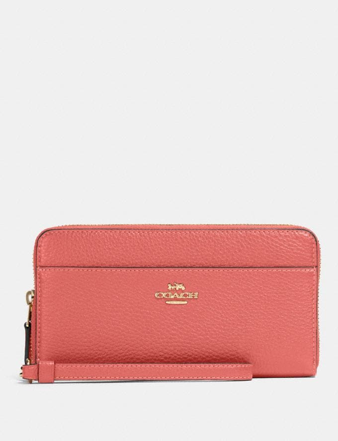 Coach Accordion Zip Wallet Im/Bright Coral Gifts Gifts