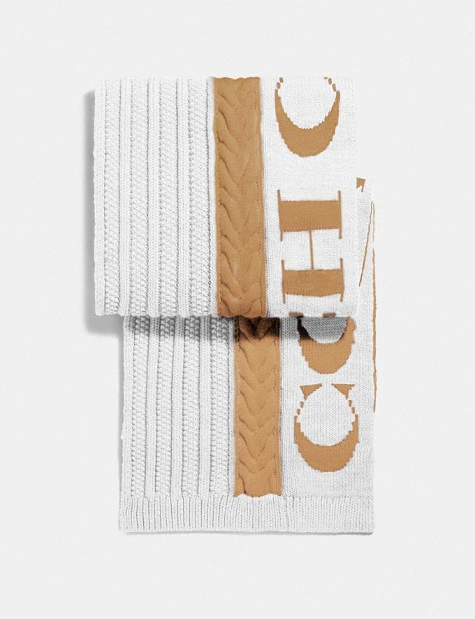 Coach Cable Knit Scarf Camel Women Edits Cold Weather Edit