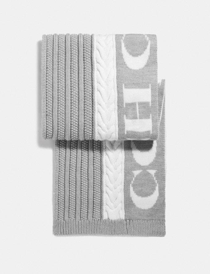 Coach Cable Knit Scarf Grey Women Accessories Hats, Scarves & Gloves