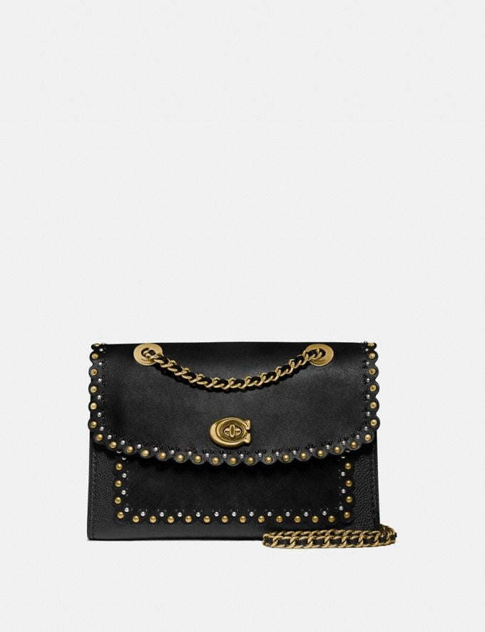 Coach Parker With Edge Scallop Rivets Black Multi/Brass Gifts For Her Under £500
