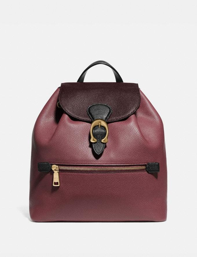 Coach Evie Backpack in Colorblock Leather Vintage Mauve Multi/Brass Cyber Monday