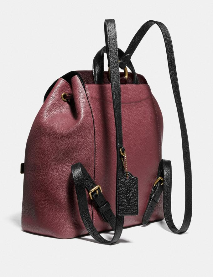 Coach Evie Backpack in Colorblock Leather Vintage Mauve Multi/Brass Cyber Monday Alternate View 1