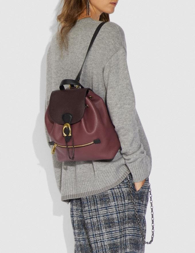 Coach Evie Backpack in Colorblock Leather Vintage Mauve Multi/Brass Cyber Monday Alternate View 3