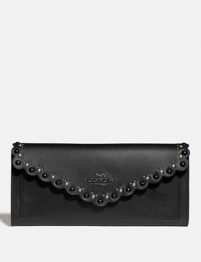 Coach Soft Wallet With Scallop Rivets Black/Brass New Women's New Arrivals Wallets & Wristlets