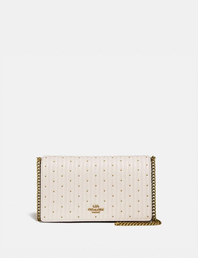Coach Callie Foldover Chain Clutch With Quilting and Rivets Chalk/Brass Women Accessories