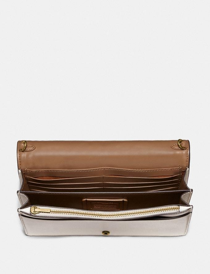 Coach Callie Foldover Chain Clutch With Quilting and Rivets Chalk/Brass Women Accessories Alternate View 2
